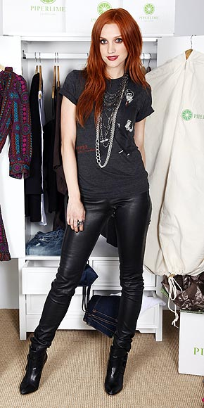 Ashlee Simpson in Elise Overland Leather Skinnies