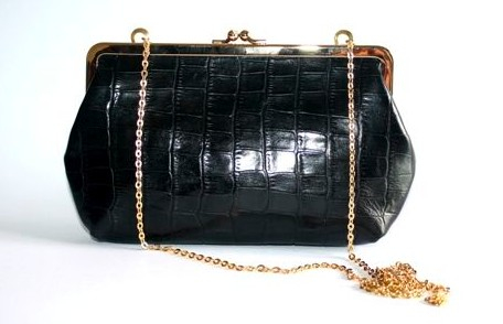C by Cynthia Black Croc Leather Clutch