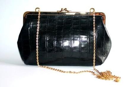 C by Cynthia Black Croc Leather Clutch