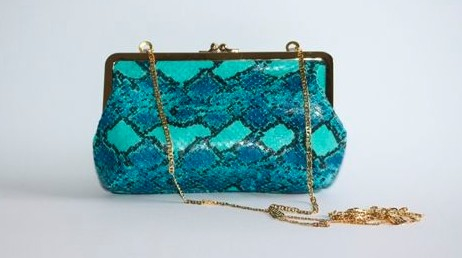 C by Cynthia Blue Lizard Print Clutch