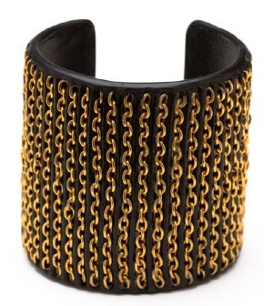 CC Skye Gold Chain & Leather Inlay Cuff
