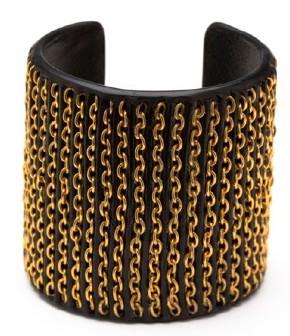 CC Skye Gold Chain & Leather Inlay Cuff