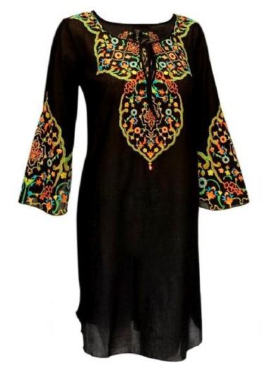 Takawear Black Embroidered Kaftan