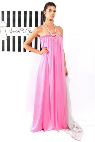 Baby Pink Strapless Flowly Gown