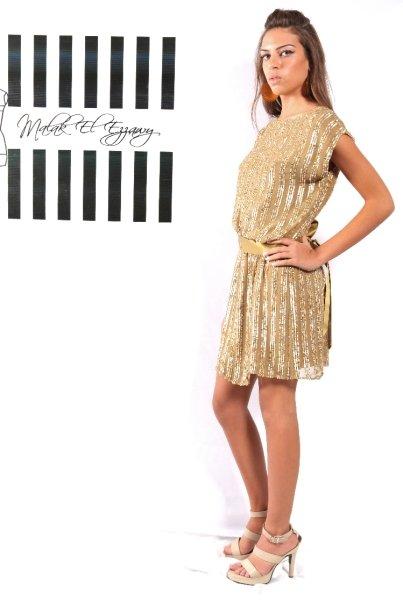 Gold Metalic Mini Cocktail Dress