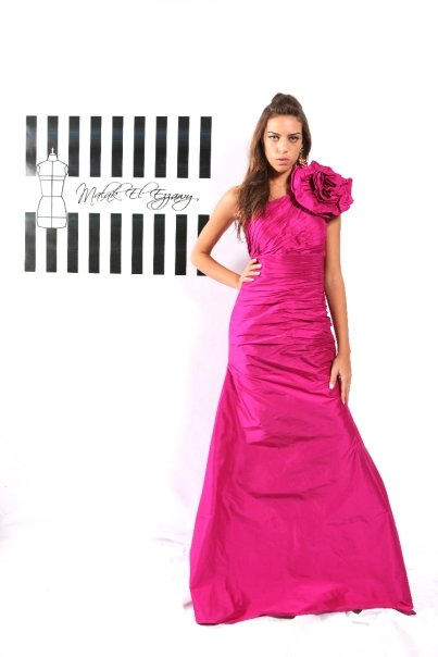 Pink Assymetric Gown with Flower on Shoulder